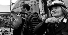 Yeah, pack the gear up she's coming!! (Baz 120) Tags: candid candidstreet candidportrait city candidface candidphotography contrast street streetphoto streetphotography streetcandid streetportrait sony a7 fullframe rome roma europe women monochrome mono monotone market noiretblanc blackandwhite bw urban life primelens portrait people pentax20mm28 italy italia girl grittystreetphotography faces decisivemoment