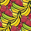 seamless pattern of raspberries and bananas (Hebstreits) Tags: background banana bananas berry collection color colorful cut cute design diet food fresh fruit fruits fun green health healthy icon illustration isolated juicy leaf nature organic pattern raspberry red seamless set sketch summer sweet texture tropical vector vegetarian wallpaper white