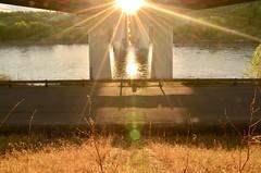 Sunburst (faithroxy) Tags: sun flare sunburst goldenhour bridge devon alberta canada northsaskatchewanriver evening river spring