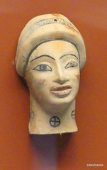Aiani Museum, Terracotta head 6th C BC  (1).JPG (tobeytravels) Tags: macedon macedonia alexanderthegreat alexandrthe3rd votive gravegoods clay figurine