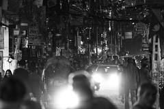 0745 Kathmandu Street Chaos (Hrvoje Simich - gaZZda) Tags: street city crowd light night chaos cars people outdoors monochrome blackandwhite kathmandu nepal asia nikon nikond750 nikkor283003556 gazzda hrvojesimich