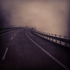 Highway to hell (jimiliop) Tags: highway ontheroad mystery fog car lines curve throughglass drops rain filter perspective vantagepoint