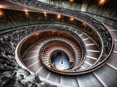 Vatican Spiral (Jörg Wanderer Photography) Tags: 11mm wideangle vatikan italien stairway italia italy museum vaticanmuseums vaticancity vatican roma rom rome