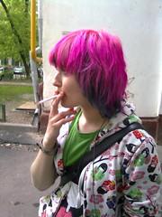 Sveta (taya-ognevaya) Tags: person friend pinkhair moscow smoke