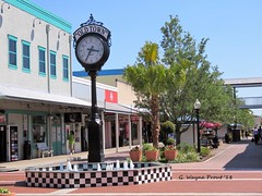 Old Town Clock and Fountain (Gerald (Wayne) Prout) Tags: oldtownclockandfountain oldtown kissimmee osceolacounty florida usa prout geraldwayneprout canon canonpwershotsx60hs powershot sx60 hs digital camera photographed photography scenery clock fountain water osceola county stateofflorida building trees