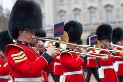 buckingham palace (nzfisher) Tags: buckinghampalace buckingham parade guards changeofguard british london trombone bearskinhat royalguards red black ritual bokeh 85mm canon marching