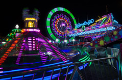 Whirling Whirlygigs (vanessa_macdonald) Tags: fair carnival britishcolumbia westcoastamusements vancouverisland festival buccaneerdays esquimalt nightphotography night longexposure vibrant lights