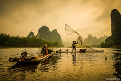 Fishing (ujjal dey) Tags: ujjal ujjaldey guilin yangshuo china travel traveler fisherman cormorant landscape mountain river reflection dailylife evening dusk misty cloudy krast fujifilm xe2s fishing net golden goldenhour