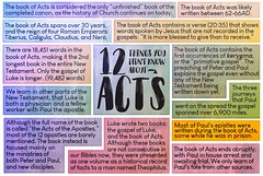 12 things you might not know of the Book of Acts. #Bible #JESUS (The JESUS in me mission) Tags: bible jesus acts verse facts word chart art infographic colorful history paul apostles new testament book truth