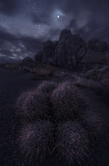 Breaking Through (Foto Fresh) Tags: california alabamahills easternsierra astrophotography landscapes nightphotography stars clouds boulders rocks barrelcactus depthoffield focusstacking twilight longexposure moody gloomy sony a7riii iso wideangle