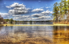 Sunshine in Spring (Pearce Levrais Photography) Tags: lake water sky cloud tree forest outside outdoor nature landscape warf dock pond canon 7d markii hdr peaceful sand beach pier