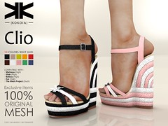 Clio :: Woman Shoes :: 10 Colors ({kokoia}) Tags: clio mesh kokoia shoes sandals summer beach maitreya slink belleza tmp themeshproject eve high woman platform girl wedeges secondlife 3d