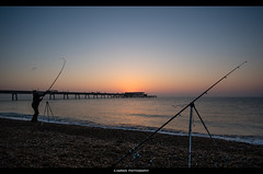 __/______/___ (Kevin HARWIN) Tags: male men fishing rods pier sunrise colours water sea wet beach sand stones rocks orange blue deal kent uk south east engalnd britain canon eos m3 sigma 1020mm lens