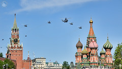 Russian Helicopters Flying Between Spasskaya Tower and St. Basil's (Guide, driver and photographer in Moscow, Russia) Tags: airfly aviation berkuts halo havoc hip hokumb ka52 mi8 may9 mi26 mi28 militaryparade moscow moscowlandmarks parade redsquare russia russianarmy saviortower spasskayatower stbasil's stbasil'scathedral victoryday victorydayparade victoryparade helicopters holidays ru