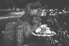 Flower Offering (c-u-b) Tags: java indonesia indonesien reisefotografie travelphotography blackandwhite schwarzweis sculpture skulptur buddhismus buddhism art kunst kunstwerk tempel temple religion religious meditation meditativ menduttemple