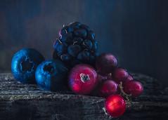 Berries (Ro Cafe) Tags: mm macro macromondays lowkey dark fruits berries wood blue red details nikkormicro105f28 nikond600