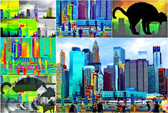 A Peek at New York City Life (soniaadammurray - On & Off) Tags: digitalphotography manipulated experimental collage abstract city cats newyork life exterior pets