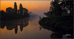 River Of Mist.. (Picture post.) Tags: landscape nature green water sunrise reflections trees river mist paysage arbre eau brume