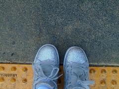 DSC03657 (classroomcamera) Tags: sonoma california foot feet shoe shoes grey silver lace laces toe toes yellow bump bumps cross crosses crossing crosswalk crosswalks blind ability disability walk walks walking street streets road roads sidewalk sidewalks