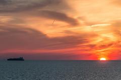 Sky Fire (langdon10) Tags: atsea canon70d gulfofmexico ship sun sunset tanker clouds nautical ocean sunlight