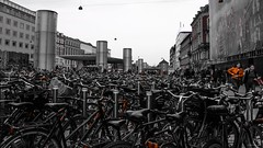 City of bicycles (Cristian Corso) Tags: travel copenaghen canon black bn color landscape wildscreen life danish bycicles confusion people europe