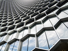DUO Hex (thecrapone) Tags: architecture building singapore duo office hexagon pattern repeat bee hive vanishingpoint bugis pentax02 pentaxq7