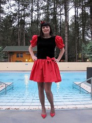 Vintage dress (Paula Satijn) Tags: girl hot sexy red skirt dress miniskirt tgirl gurl lady garden pool outside happy fun joy sensual sweet cute girly feminine legs stockings pumps heels tranny transvestite smile