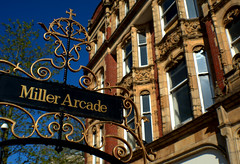 Miller Arcade, Preston (Tony Worrall) Tags: preston lancs lancashire city england regional region area northern uk update place location north visit county attraction open stream tour country welovethenorth nw northwest britain english british gb capture buy stock sell sale outside outdoors caught photo shoot shot picture captured architecture building victorian relic olden miller millerarcade sign toilet gold gilt golden ornate metal shapes twisted windows