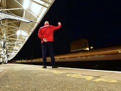 Band of brothers (legomanbiffo) Tags: platform railway shot night station coast east trains virgin vtec ecml retford