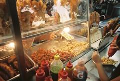 Mérida (cranjam) Tags: ricoh gr1 gr1v film kodak portra160 mexico messico yucatán mérida plazagrande stall bancarella fries friedplantains ketchup salsa