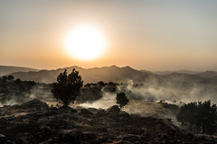 A fire just started in the mountains of Kurdistan (rvjak) Tags: fire feu sunset d750 nikon irak iraq kurdistan mountain landscape sky smoke fumée tree incendie ground travel voyage