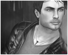 Peter - 2 (Tammy-Jones (accepting clients and critique)) Tags: sl secondlife sexy stud blackwhite bw rain noir