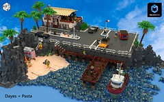 The Pier - 90ies Nostalgia (ron_dayes) Tags: lego modular minifigure model pier harbour scene boat sportscar transporter town city water ocean