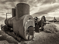 From Bodie (mikeSF_) Tags: bodie shp gold mine mining ghost abandones 1880 boiler car antique sepia mono bw outdoor mikeoria mikeoriaphotography pentax 645 645z wwwmikeoriacom west western steel iron rivet decay