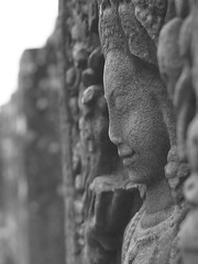 Female face at Bayon (hasor) Tags: siem reap cambodia southeastasia bayon female face divinity stone statue monochrome wall