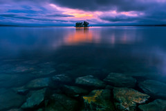 sunset 5631 (junjiaoyama) Tags: japan sunset bluehour sky light cloud weather landscape blue orange pink contrast color bright lake island water nature spring rock underwater reflection