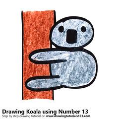 Koala using Number 13 (drawingtutorials101.com) Tags: koala using number 13 draw drawing drawings sketch sketches how color pencil pencils colors coloring speed