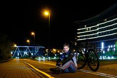 Dimon and his bike (bike lane) (Yalokins) Tags: bicycle bike byciclist belarus minsk night lane bikeway dimon