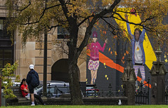 Happy Street Art (Ian@NZFlickr) Tags: street art first church dunedin otago nz tourists autumn tree leaves gate
