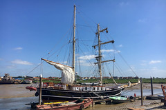 Lady of Avenel - The Journey begins. (Andy.Gocher) Tags: andygocher iphone 6s boat moldon essex dock port harbour ladyofavenel brigantine squarerigger tallship mast sails ☠️ thejourney sailing