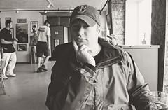 Pete at Rogue Brewery (pete4ducks) Tags: pete oregoncoast newport oregon brewpub roguebrewery 2006 cropped blackandwhite on1pics hat bostonredsox brewery portrait 500views