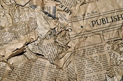 Old Newspaper Background (franklinchaves.cvudes) Tags: vintage newspaper crumpled background abstract alphabet art old conceptual element gold sepia grunge illustration news stories printed message notice page paper pattern read retro style symbol text torn texture textured type antique word write