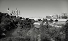 Puente de Piedra Bridge _4433bw (hkoons) Tags: basilicaofourladyofpilar bayofbiscay ebroriver northernspain puentedepiedra westerneurope atlantic basque city europe european iberia spain spanish zaragoza architecture baroque bridge conveyance evening night railings river road water