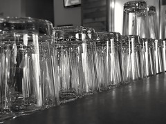 Glasses (Helen Orozco) Tags: glasses tumblers marblebrewpub shiny bw random test