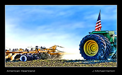 American Heartland (J Michael Hamon) Tags: farm farmer tractor equipment cultivate cultivator heavyequipment field johndeere flag america heartland american patriot patriotic hamon nikon d3200 nikkor 55300mm photoborder sky bartholomewcounty indiana hartsville agriculture midwest outdoor outdoors rural tonemapping country crop
