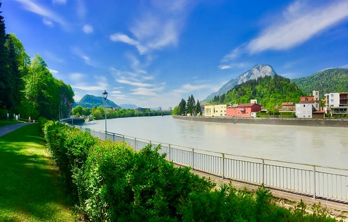 River Inn in Kufstein with Pendling mountain in Tyrol, Austria