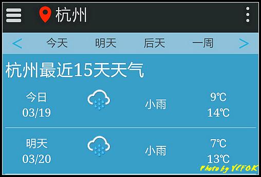 杭州 2018-03-19 天氣