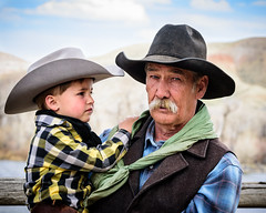 █ █ (nevadoyerupaja) Tags: wyoming cowboy portrait grandson kid spring outfitter usa boy granddad griffinstetter dubois claytonvoss stetteroutfitters lazytxoutfitters eastforkofthewindriver