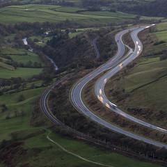 Entering the Lune Gorge, Howgill Fells near Sedbergh, Yorkshire Dales National Park, Cumbria, UK (Ministry) Tags: m6 motorway lune gorge howgillfells tebay cumbria uk westcoastmainline bleasefell river valley wcml railway howgill fell moor evening low crookoflune fleetholme farm
