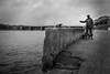 What fish did you catch? (Unicorn.mod) Tags: 2018 tver monochrome blackandwhite blackwhite river water bridge figure statue clouds outdoor canoneos6d canonef24105mmf4lisusm